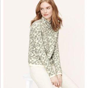 LOFT Mock Neck Gray White Animal Print Sweater Top